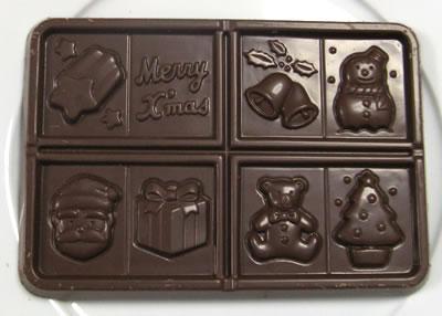 名糖産業(meito) クリスマスチョコレートの中身(チョコレートのアップ画像)