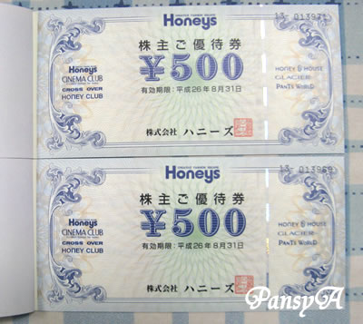 (株)ハニーズ〔2792〕より「株主優待券」が届きました。
