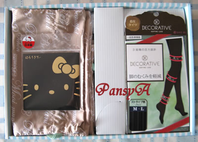 SHO-BI(株)〔7819〕より株主優待の、自社企画商品 3000円相当分「はろうきてぃあぶらとり紙・エステレッグシリーズから1アイテム(弾性ストッキング)・オリジナル巾着セット」が届きました。