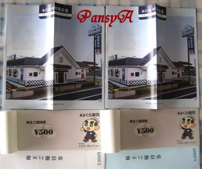 (株)くらコーポレーション(くら寿司)〔2695〕より「株主ご優待券」が届きました