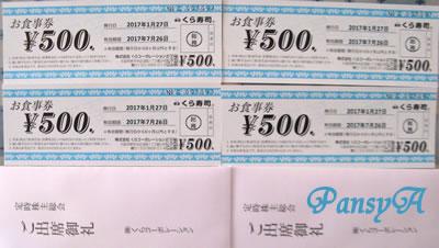 (株)くらコーポレーション(くら寿司)〔2695〕の第21期定時株主総会のお土産を頂きました。
