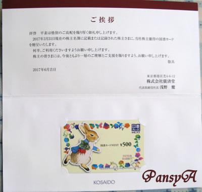 (株)廣済堂〔7868〕より株主優待の図書カードが届きました。