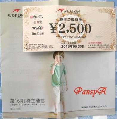 (株)ライドオンエクスプレス〔6082〕より「株主ご優待券」(2500円分)が届きました。宅配寿司「銀のさら」・宅配御膳「釜寅」等で利用できます。お米との交換も可です。
