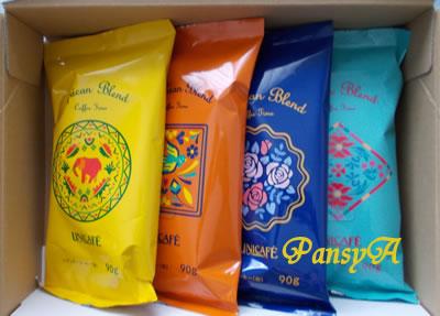 (株)ユニカフェ〔2597〕より株主優待の2000円相当の自社商品「世界のエリア別のブレンドコーヒー4点の詰め合わせ」が届きました。