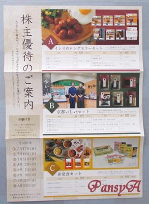 石井食品(株)〔2894〕より「株主優待のご案内」が届きました。A・B・Cの商品セットの中から、好きなものを1つ選びます。