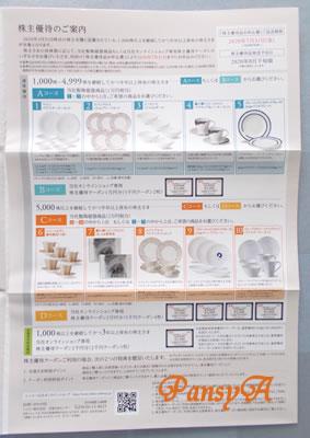 ニッコー(株)〔5343〕より「株主優待のご案内」が届きました。10000円相当の自社陶器商品か、自社オンラインショップのクーポン(5000円×2枚)のどちらかを選択します。