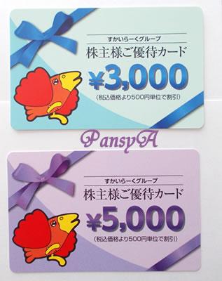 (株)すかいらーくホールディングス〔3197〕より株主優待の「株主様ご優待カード」(8000円分)が届きました。