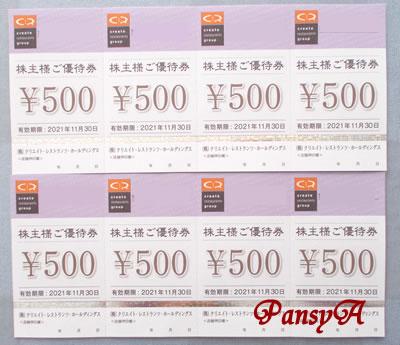 (株)クリエイト・レストランツ・ホールディングス〔3387〕より、「株主様ご優待券」(4000円分)が到着しました。