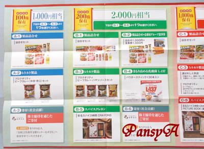ハウス食品グループ本社(株)〔2810〕より「株主優待のご案内」が届きました。私は100株保有なので3点の中から1点選択します。