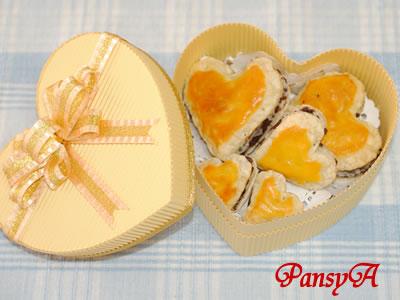 黄色いハートのチョコレートパイ