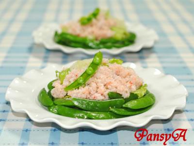 レタスと蟹とスナップエンドウのサラダ【味わいすっきり♪ゆずドレッシングで】