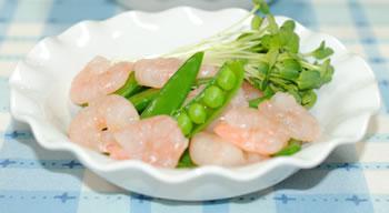 海老とスナップエンドウのサラダ☆かいわれ添え【味わいすっきり♪ゆずドレッシングで】